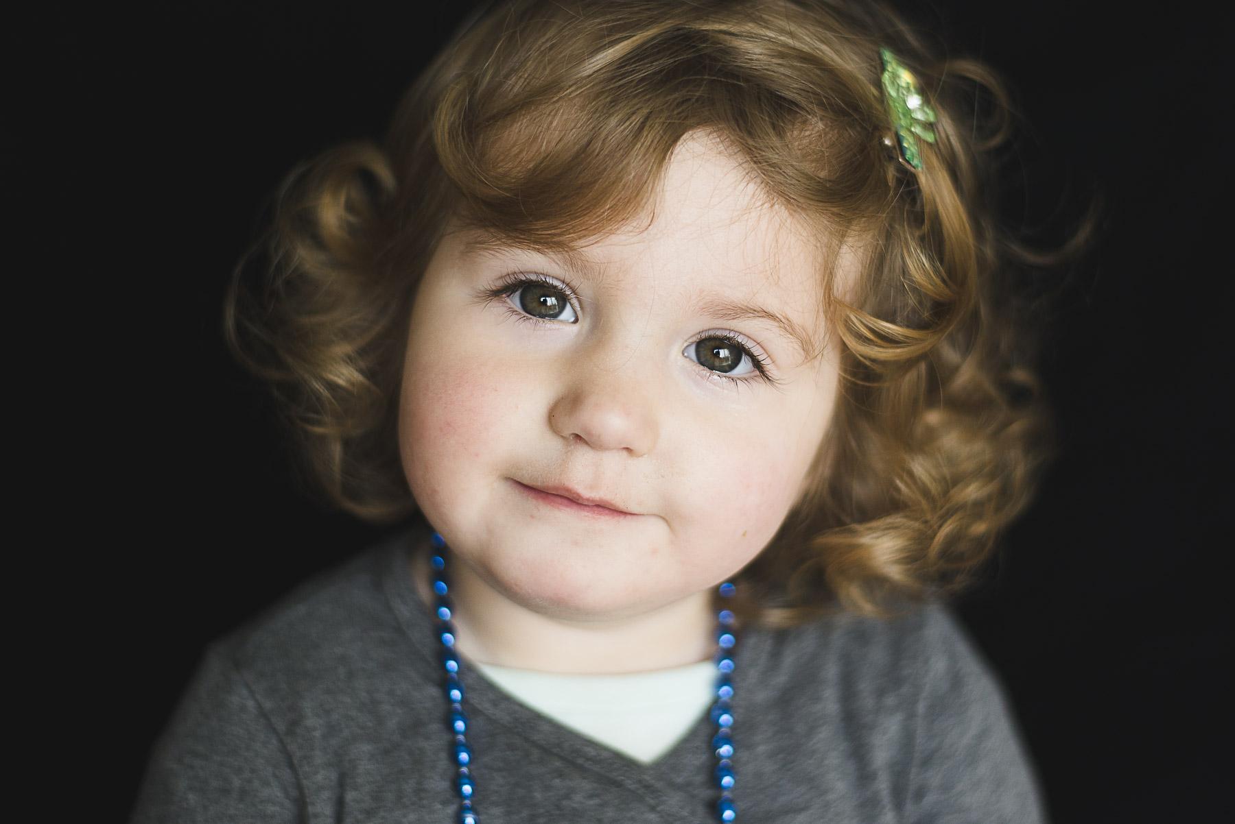 school portrait of a 3 year old girl in San Francisco